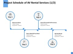 Project Schedule Of AV Rental Services Performances Ppt Powerpoint Presentation Icon Designs