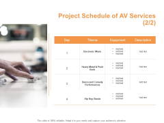 Project Schedule Of AV Services Electronic Ppt PowerPoint Presentation Ideas Outline