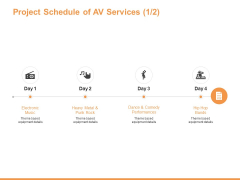 Project Schedule Of AV Services Performances Ppt PowerPoint Presentation Summary Example Introduction