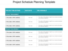 Project Schedule Planning Template Ppt PowerPoint Presentation Portfolio Introduction