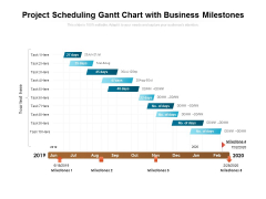 Project Scheduling Gantt Chart With Business Milestones Ppt PowerPoint Presentation Icon Picture