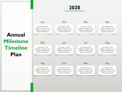 Project Scheduling Timeline Annual Milestone Timeline Plan Ppt Summary PDF