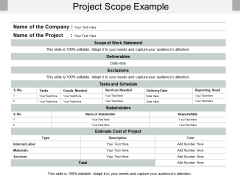 Project Scope Example Ppt PowerPoint Presentation File Slideshow