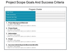 Project Scope Goals And Success Criteria Ppt PowerPoint Presentation Portfolio Slide