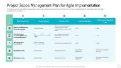Project Scope Management Plan For Agile Implementation Icons PDF