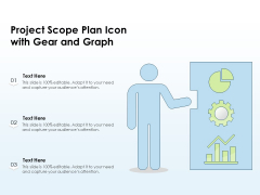 Project Scope Plan Icon With Gear And Graph Ppt PowerPoint Presentation File Master Slide PDF