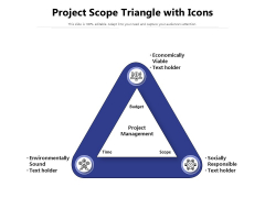 Project Scope Triangle With Icons Ppt PowerPoint Presentation Icon Inspiration PDF