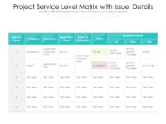 Project Service Level Matrix With Issue Details Ppt PowerPoint Presentation Gallery Layouts PDF