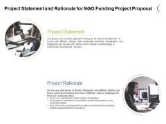 Project Statement And Rationale For NGO Funding Project Proposal Ppt PowerPoint Presentation Inspiration Background