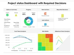 Project Status Dashboard With Required Decisions Ppt PowerPoint Presentation File Model PDF