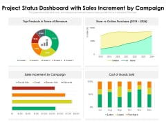 Project Status Dashboard With Sales Increment By Campaign Ppt PowerPoint Presentation File Graphics Example PDF