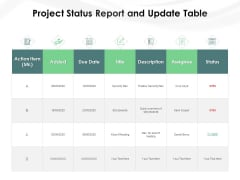 Project Status Report And Update Table Ppt PowerPoint Presentation File Show PDF
