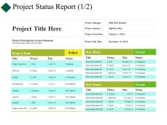 Project Status Report Ppt PowerPoint Presentation Infographics Designs Download