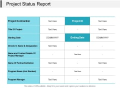 Project Status Report Ppt PowerPoint Presentation Layouts Visual Aids