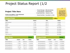 Project Status Report Ppt PowerPoint Presentation Portfolio Structure