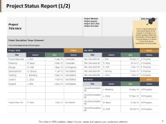 Project Status Report Ppt PowerPoint Presentation Professional Smartart