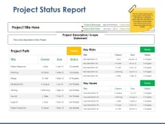 Project Status Report Ppt PowerPoint Presentation Styles Deck