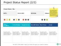 Project Status Report Requirements Ppt PowerPoint Presentation Gallery Ideas