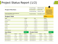 Project Status Report Template 1 Ppt PowerPoint Presentation File Design Inspiration