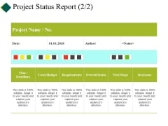 Project Status Report Template Ppt PowerPoint Presentation Infographics Ideas