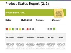 Project Status Report Template Ppt PowerPoint Presentation Layouts Background