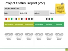 Project Status Report Template Ppt PowerPoint Presentation Outline Graphics