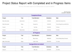 Project Status Report With Completed And In Progress Items Ppt PowerPoint Presentation Icon Vector PDF