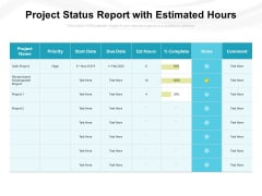 Project Status Report With Estimated Hours Ppt PowerPoint Presentation Styles Slide PDF
