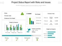Project Status Report With Risks And Issues Ppt PowerPoint Presentation File Styles PDF