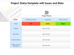 Project Status Template With Issues And Risks Ppt PowerPoint Presentation File Outline PDF