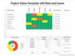 Project Status Template With Risks And Issues Ppt PowerPoint Presentation File Slides PDF