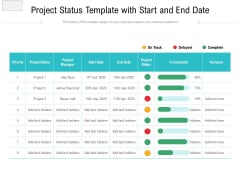 Project Status Template With Start And End Date Ppt PowerPoint Presentation Gallery Summary PDF