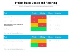Project Status Update And Reporting Ppt PowerPoint Presentation Icon Backgrounds PDF