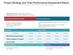 Project Strategy And Team Performance Assessment Report Ppt PowerPoint Presentation Portfolio Infographic Template PDF