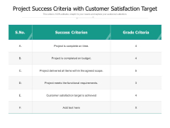 Project Success Criteria With Customer Satisfaction Target Ppt PowerPoint Presentation File Gridlines PDF