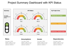 Project Summary Dashboard With Kpi Status Ppt PowerPoint Presentation Slides Show