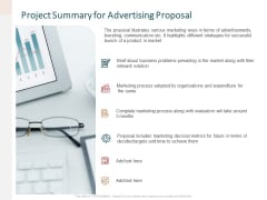 Project Summary For Advertising Proposal Ppt Styles Example PDF