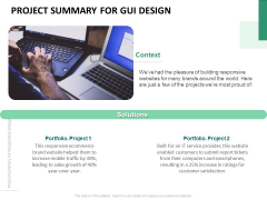 Project Summary For Gui Design Ppt PowerPoint Presentation Icon Slides PDF