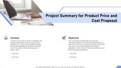 Project Summary For Product Price And Cost Proposal Ppt Microsoft PDF