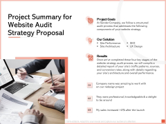 Project Summary For Website Audit Strategy Proposal Ppt Slides Example Topics PDF