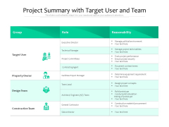 Project Summary With Target User And Team Ppt PowerPoint Presentation Inspiration Icon PDF