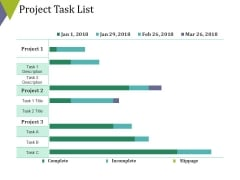 Project Task List Template 2 Ppt PowerPoint Presentation Infographics Brochure