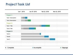 Project Task List Template 2 Ppt PowerPoint Presentation Slides Tips
