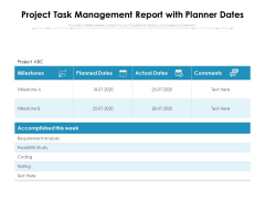 Project Task Management Report With Planner Dates Ppt PowerPoint Presentation Icon Slide Download PDF