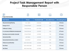 Project Task Management Report With Responsible Person Ppt PowerPoint Presentation Gallery Graphics Tutorials PDF