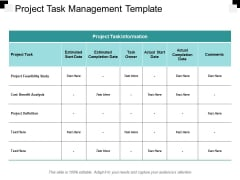 Project Task Management Template Ppt PowerPoint Presentation Pictures Outline