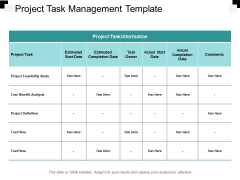 Project Task Management Template Ppt PowerPoint Presentation Styles Background Image