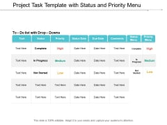 Project Task Template With Status And Priority Menu Ppt PowerPoint Presentation Ideas Visuals Cpb