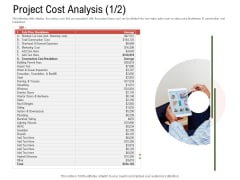 Project Tasks Priority Analysis Project Cost Analysis Average Ppt Slides Summary PDF