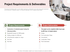 Project Tasks Priority Analysis Project Requirements And Deliverables Ppt Infographic Template Design Templates PDF